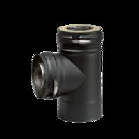 Dubbelwandig zwart T-stuk 90° Ø 80 mm