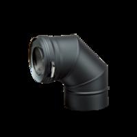 Dubbelwandig zwart Bocht 90° Ø 80 mm