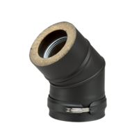 Dubbelwandig zwart Bocht 45° Ø 80 mm