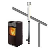 Pelletkachel Rookgasafvoer set/kit Licht hellend 5-25° - Bitume/EPDM bekleed dak